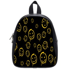 Face Smile Bored Mask Yellow Black School Bags (small)  by Mariart