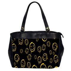 Face Smile Bored Mask Yellow Black Office Handbags (2 Sides)  by Mariart
