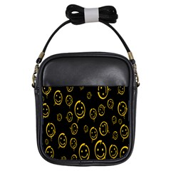 Face Smile Bored Mask Yellow Black Girls Sling Bags by Mariart