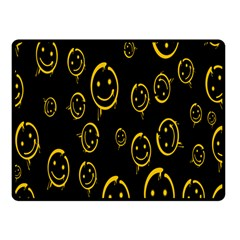 Face Smile Bored Mask Yellow Black Fleece Blanket (small) by Mariart