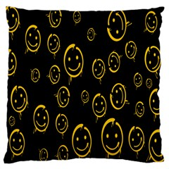 Face Smile Bored Mask Yellow Black Large Cushion Case (one Side) by Mariart