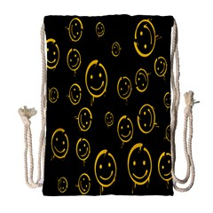 Face Smile Bored Mask Yellow Black Drawstring Bag (large) by Mariart