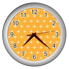 Yellow Stars Iso Line White Wall Clocks (silver)  by Mariart