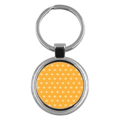 Yellow Stars Iso Line White Key Chains (round)  by Mariart