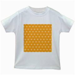 Yellow Stars Iso Line White Kids White T Shirts by Mariart