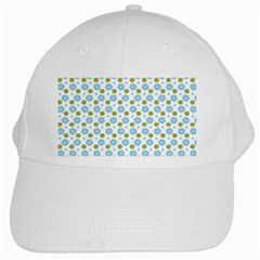 Blue Yellow Star Sunflower Flower Floral White Cap by Mariart