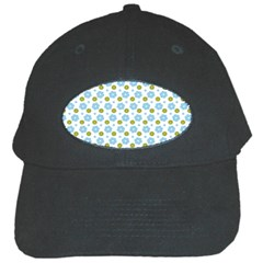 Blue Yellow Star Sunflower Flower Floral Black Cap by Mariart
