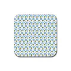 Blue Yellow Star Sunflower Flower Floral Rubber Square Coaster (4 Pack)  by Mariart