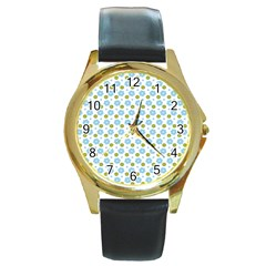 Blue Yellow Star Sunflower Flower Floral Round Gold Metal Watch by Mariart