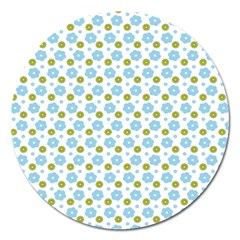 Blue Yellow Star Sunflower Flower Floral Magnet 5  (round) by Mariart