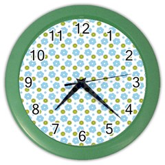 Blue Yellow Star Sunflower Flower Floral Color Wall Clocks by Mariart