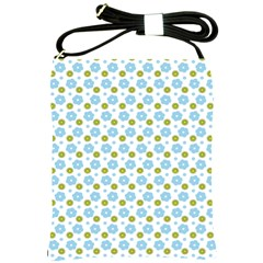 Blue Yellow Star Sunflower Flower Floral Shoulder Sling Bags by Mariart