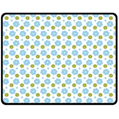 Blue Yellow Star Sunflower Flower Floral Fleece Blanket (medium)  by Mariart