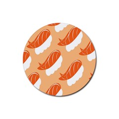 Fish Eat Japanese Sushi Rubber Round Coaster (4 Pack)  by Mariart