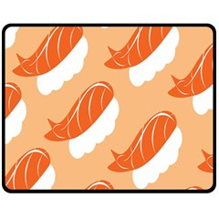 Fish Eat Japanese Sushi Fleece Blanket (medium)  by Mariart