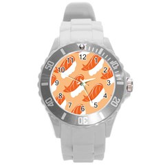 Fish Eat Japanese Sushi Round Plastic Sport Watch (l) by Mariart