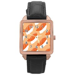 Fish Eat Japanese Sushi Rose Gold Leather Watch  by Mariart