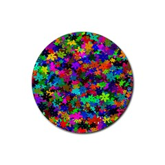 Flowersfloral Star Rainbow Rubber Coaster (round)  by Mariart