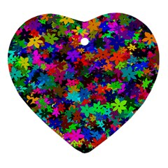 Flowersfloral Star Rainbow Heart Ornament (two Sides) by Mariart