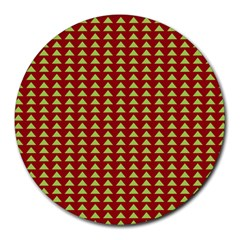 Hawthorn Sharkstooth Triangle Green Red Round Mousepads by Mariart