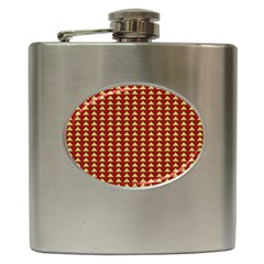 Hawthorn Sharkstooth Triangle Green Red Hip Flask (6 Oz) by Mariart