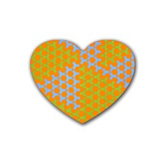 Green Blue Orange Heart Coaster (4 Pack)  by Mariart