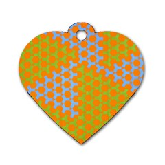 Green Blue Orange Dog Tag Heart (one Side) by Mariart