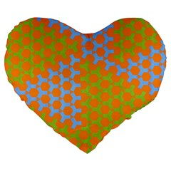 Green Blue Orange Large 19  Premium Heart Shape Cushions by Mariart