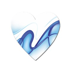 Glittering Abstract Lines Blue Wave Chefron Heart Magnet