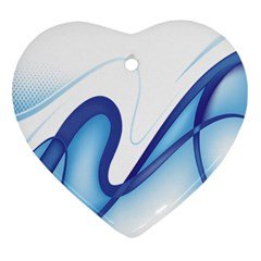 Glittering Abstract Lines Blue Wave Chefron Heart Ornament (two Sides) by Mariart