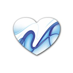 Glittering Abstract Lines Blue Wave Chefron Rubber Coaster (heart)  by Mariart