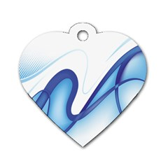 Glittering Abstract Lines Blue Wave Chefron Dog Tag Heart (one Side) by Mariart