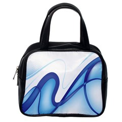 Glittering Abstract Lines Blue Wave Chefron Classic Handbags (one Side) by Mariart