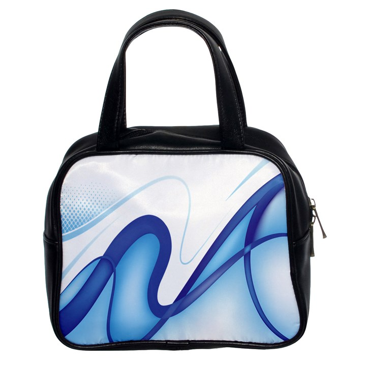 Glittering Abstract Lines Blue Wave Chefron Classic Handbags (2 Sides)