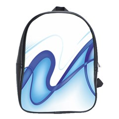 Glittering Abstract Lines Blue Wave Chefron School Bags(large)