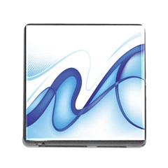 Glittering Abstract Lines Blue Wave Chefron Memory Card Reader (square) by Mariart