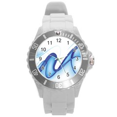Glittering Abstract Lines Blue Wave Chefron Round Plastic Sport Watch (l) by Mariart