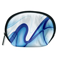 Glittering Abstract Lines Blue Wave Chefron Accessory Pouches (medium)