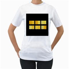 Horizontal Color Scheme Plaid Black Yellow Women s T Shirt (white) (two Sided)