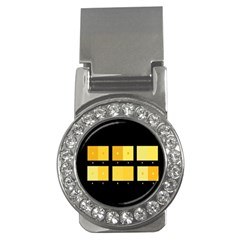 Horizontal Color Scheme Plaid Black Yellow Money Clips (cz)  by Mariart