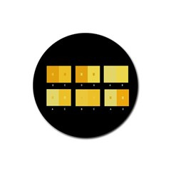 Horizontal Color Scheme Plaid Black Yellow Rubber Round Coaster (4 Pack)  by Mariart