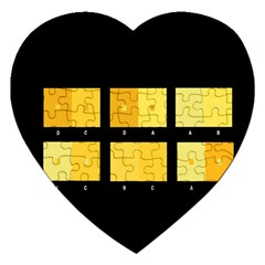 Horizontal Color Scheme Plaid Black Yellow Jigsaw Puzzle (heart) by Mariart
