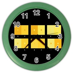 Horizontal Color Scheme Plaid Black Yellow Color Wall Clocks by Mariart