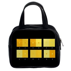 Horizontal Color Scheme Plaid Black Yellow Classic Handbags (2 Sides) by Mariart