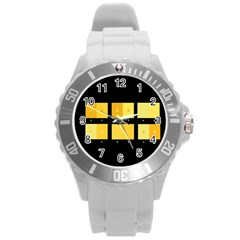 Horizontal Color Scheme Plaid Black Yellow Round Plastic Sport Watch (l) by Mariart