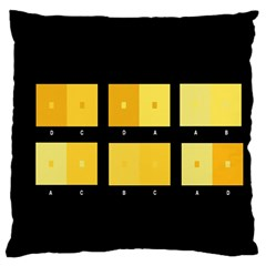 Horizontal Color Scheme Plaid Black Yellow Large Cushion Case (one Side) by Mariart