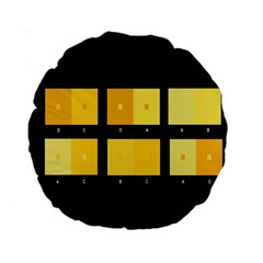 Horizontal Color Scheme Plaid Black Yellow Standard 15  Premium Round Cushions by Mariart