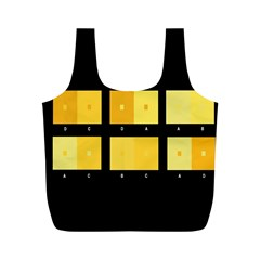 Horizontal Color Scheme Plaid Black Yellow Full Print Recycle Bags (m)  by Mariart