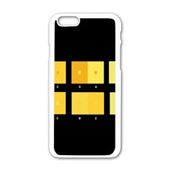 Horizontal Color Scheme Plaid Black Yellow Apple Iphone 6/6s White Enamel Case by Mariart