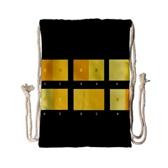 Horizontal Color Scheme Plaid Black Yellow Drawstring Bag (small) by Mariart